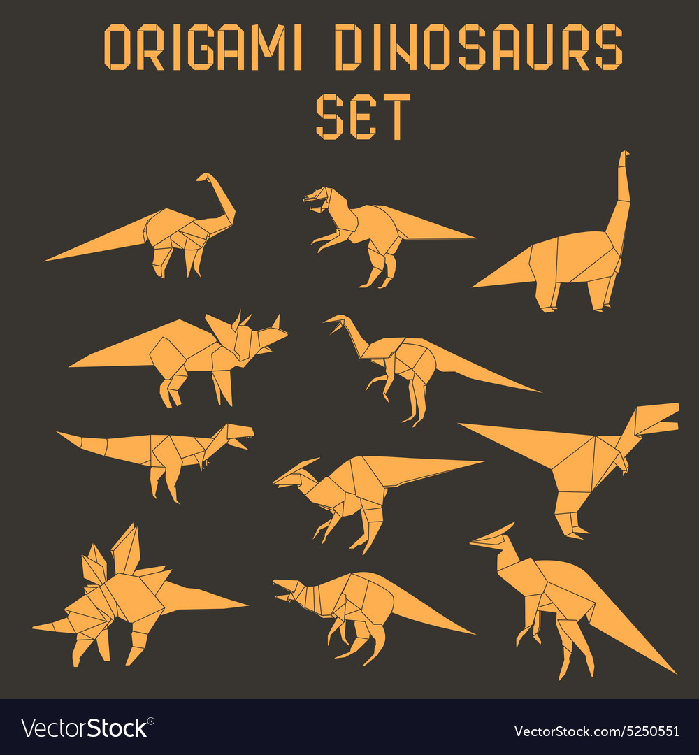 Origami Dinosaurs Vector Images 57 Dinosaur Diagrams
