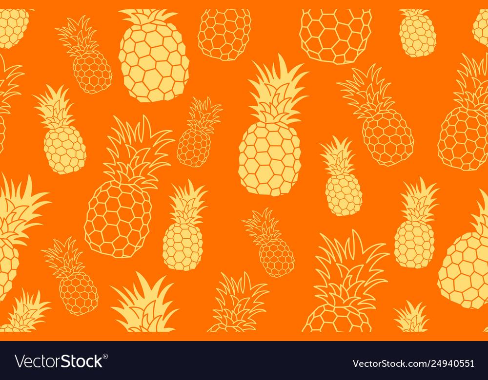 Pineapple seamless orange pattern hand drawn