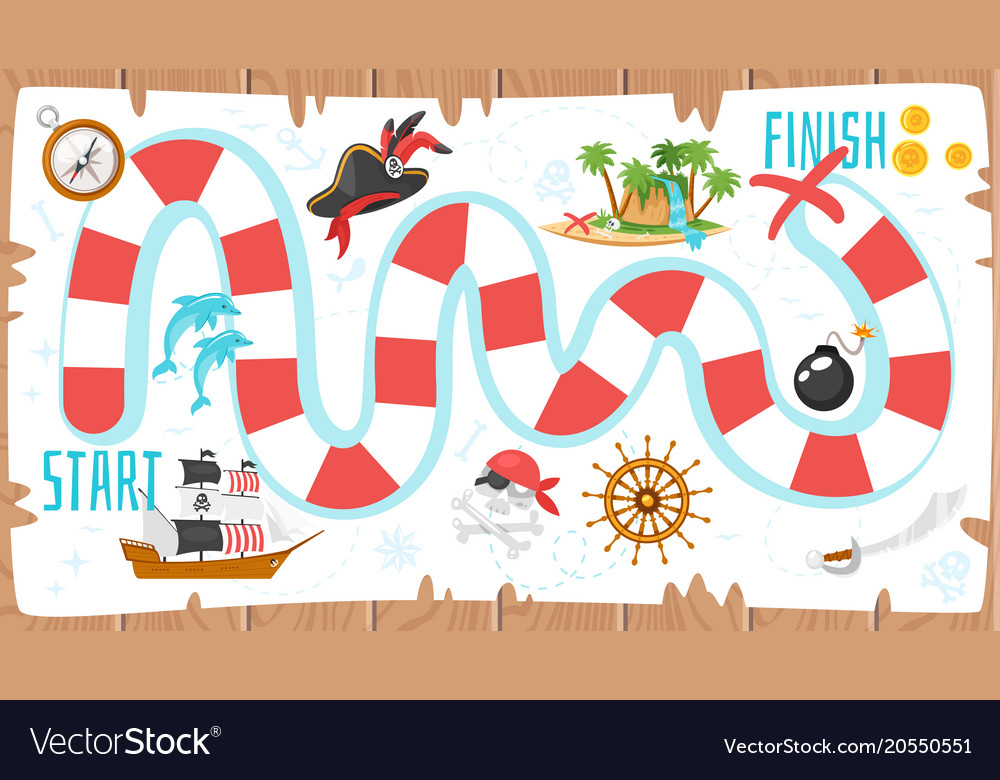 pirate board game template royalty free vector image