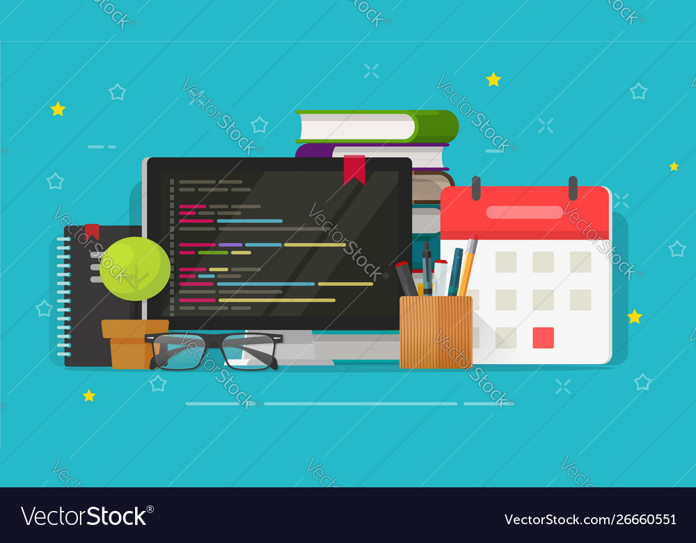 Programmer desktop and computer screen and code