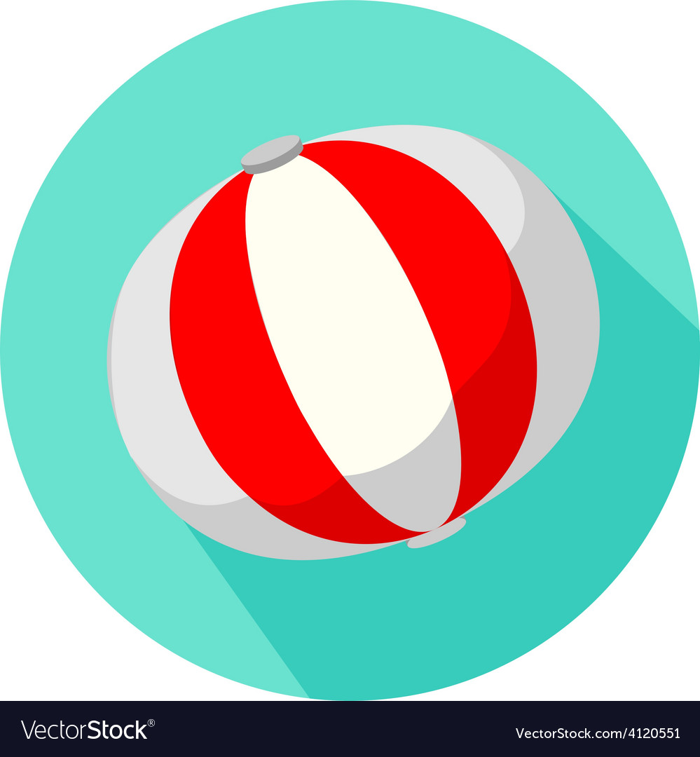 Red and white beach ball isolated
