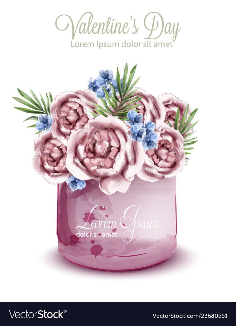Roses delicate bouquet watercolor wedding