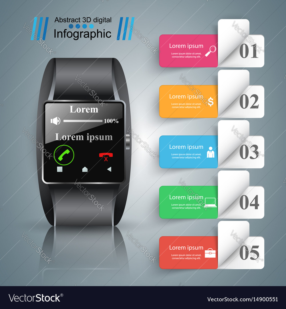 Smartwatch icon abstract infographic