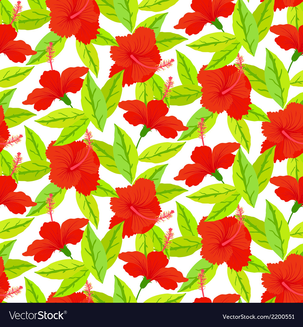 Tropical Vintage Pattern With Red Hibiscus Flowers