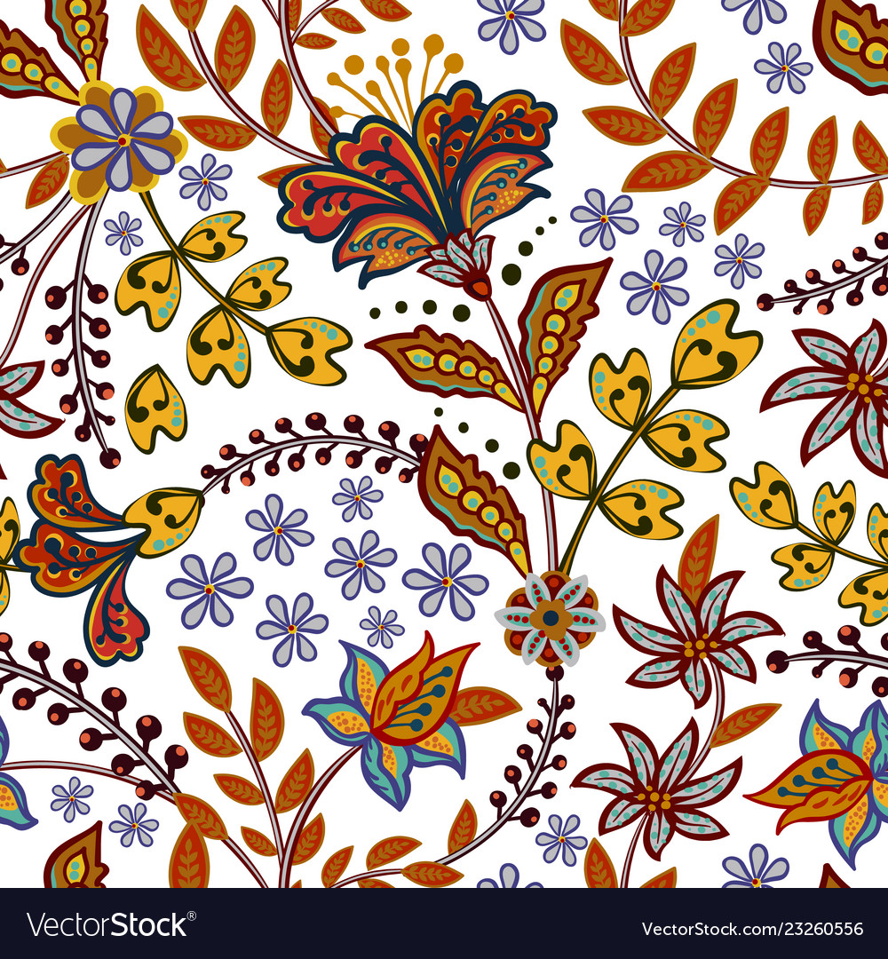 Abstract flowers seamless pattern floral