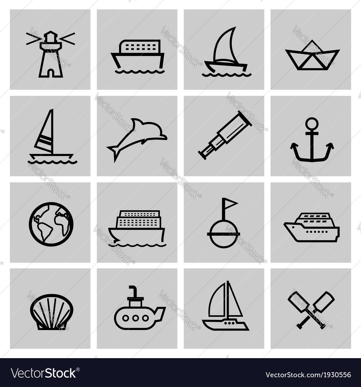 Black nautical icons set