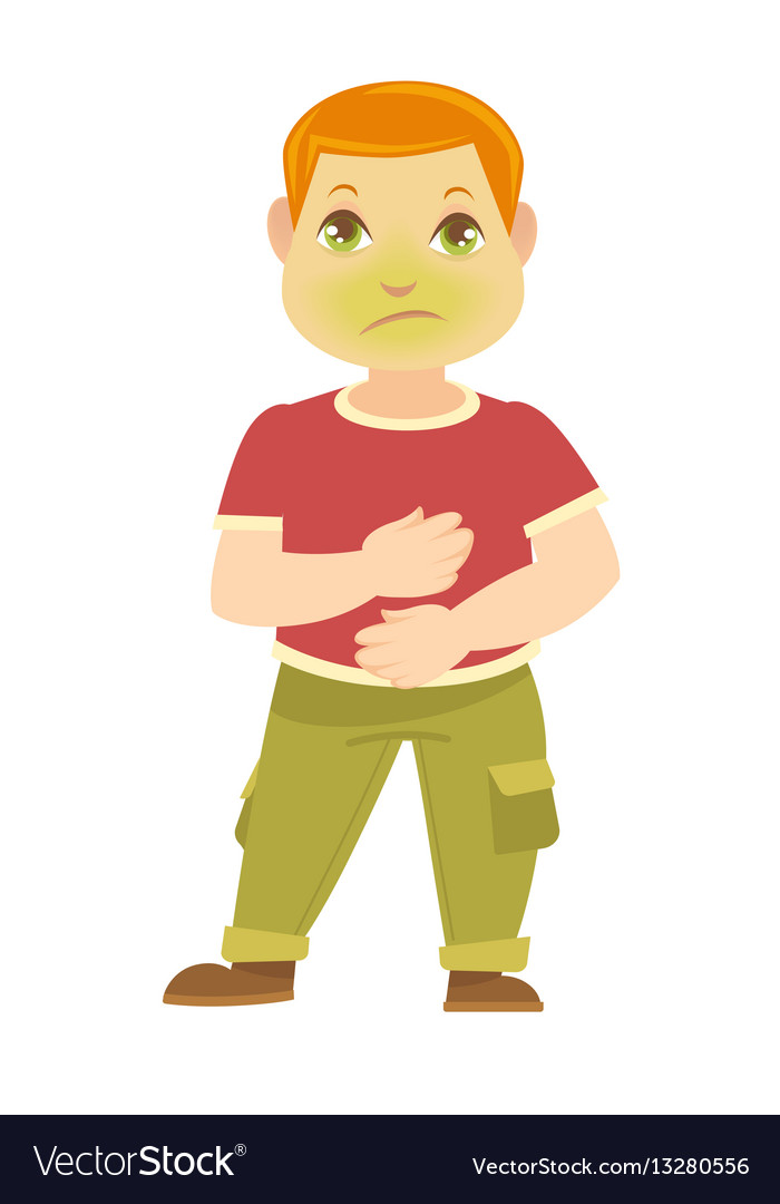 Child has pain in stomach boy sick with green vector image