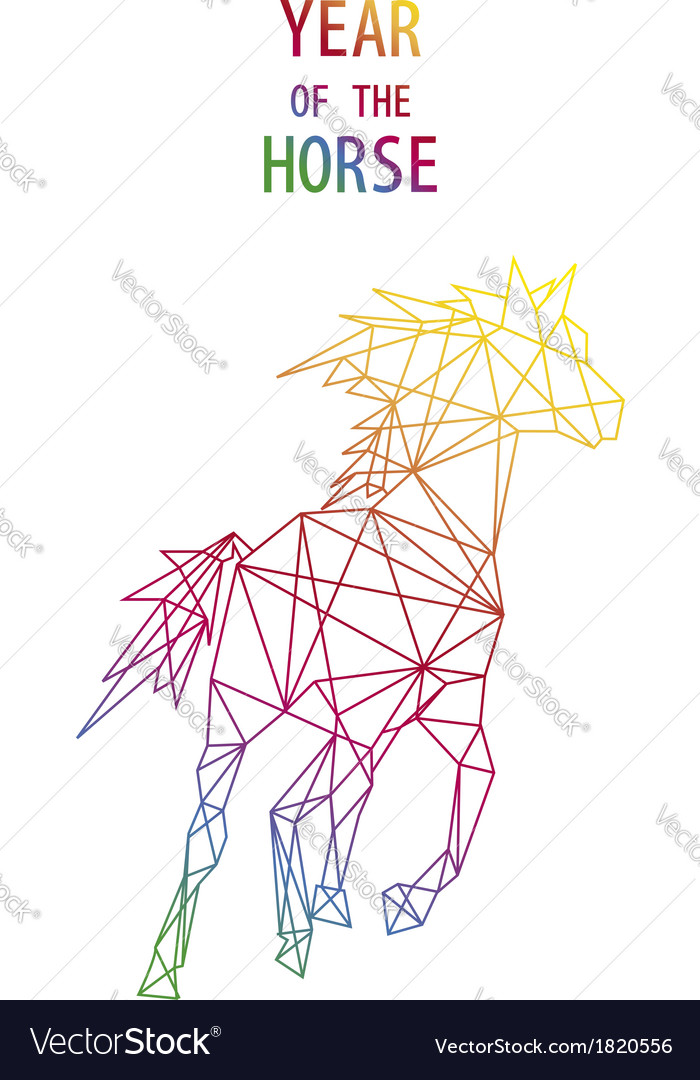 Chinese new year of the Horse abstract triangle