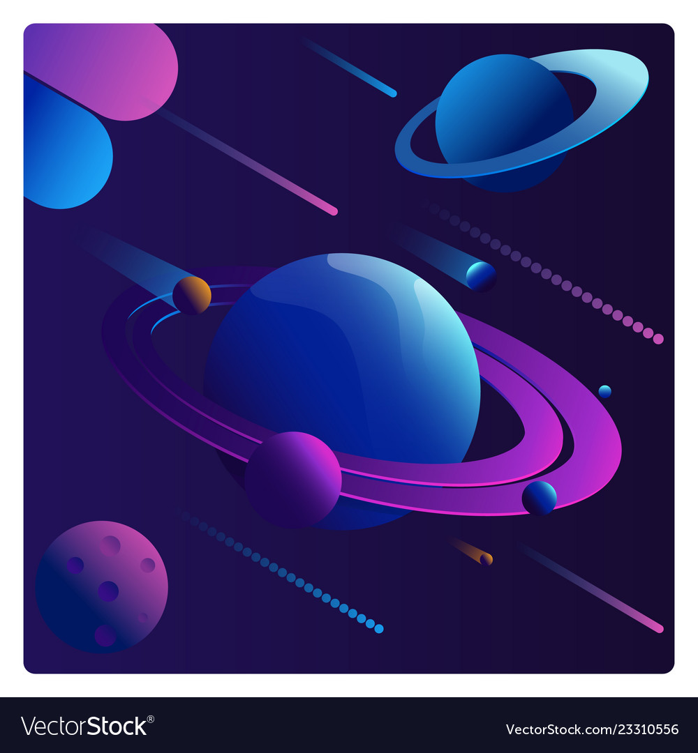 Colorful cartoon fantasy planets set on space