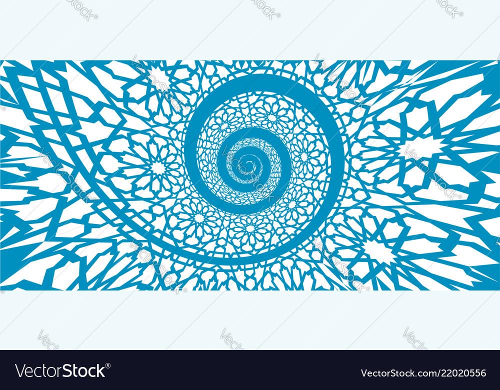 Islamic pattern swirled in 3d spiral shape