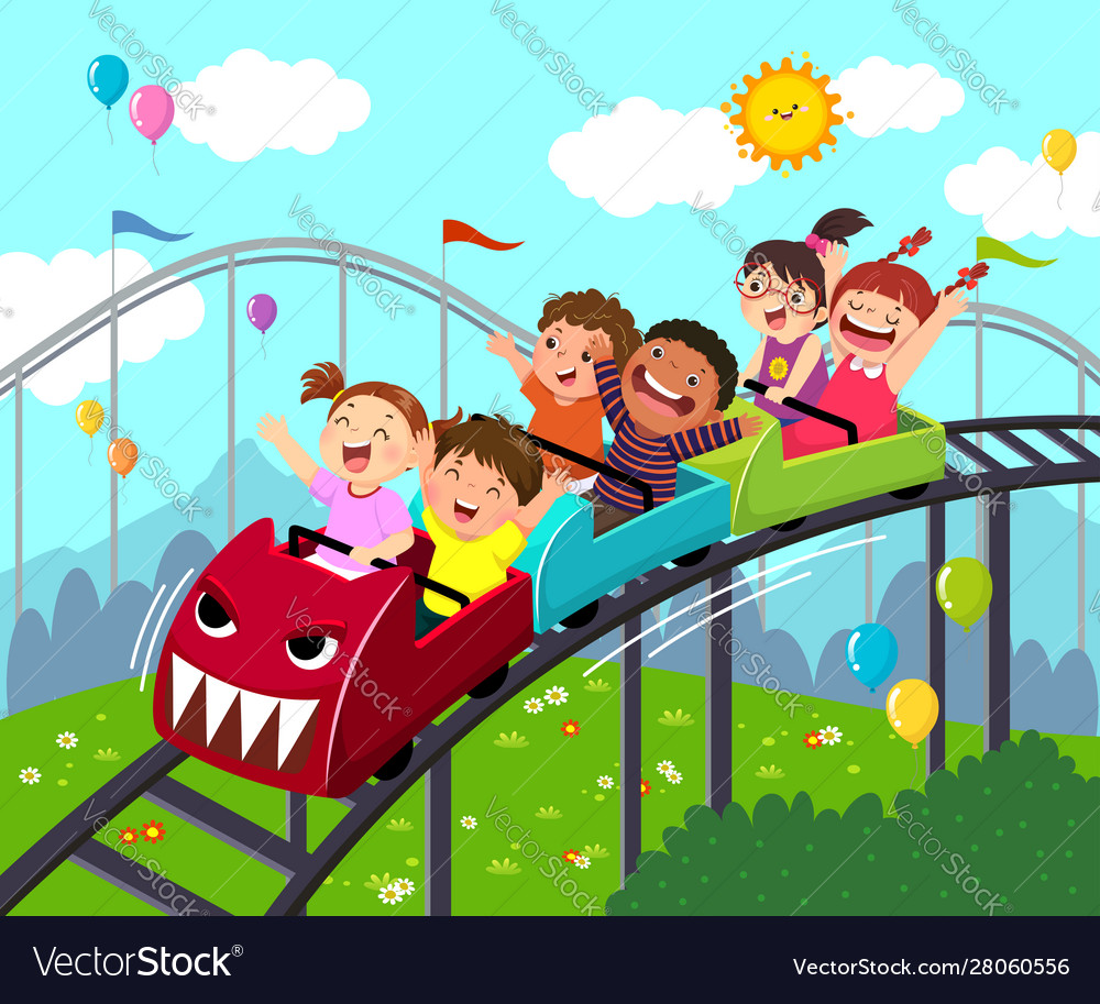 Kids Having Fun On Roller Coaster Royalty Free Vector Image