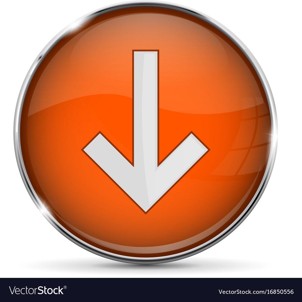 Orange down button with white arrow shiny 3d icon