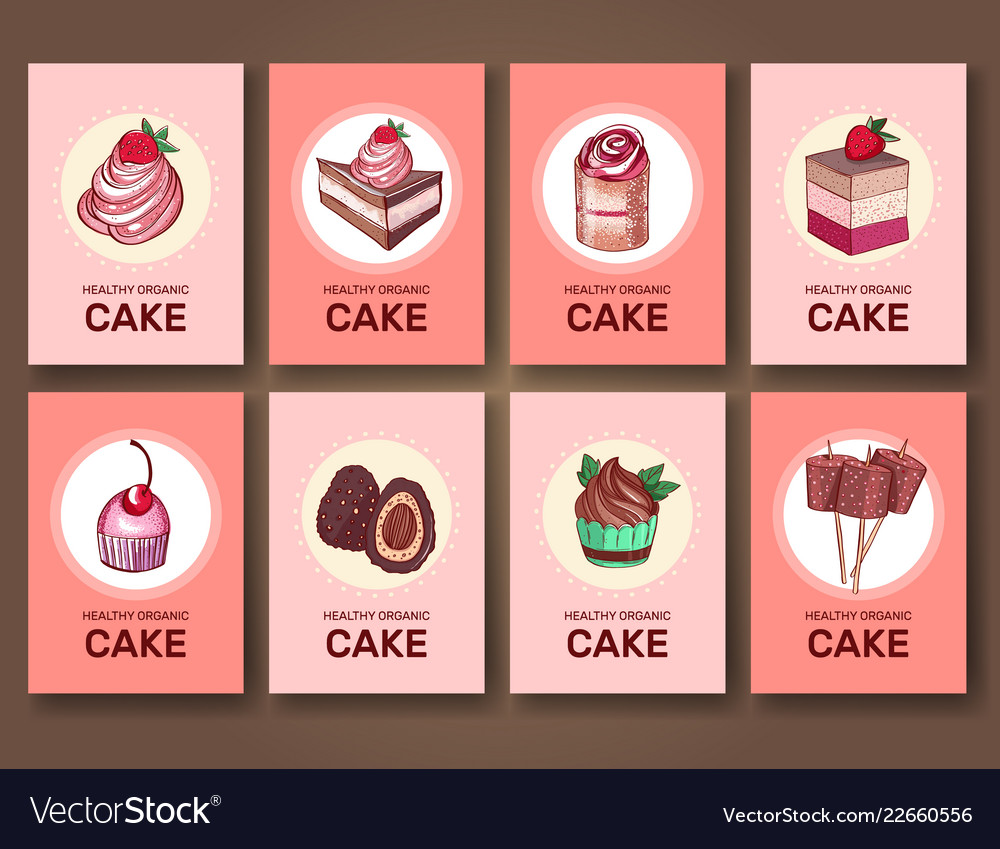 Set of brochures cards with sweets