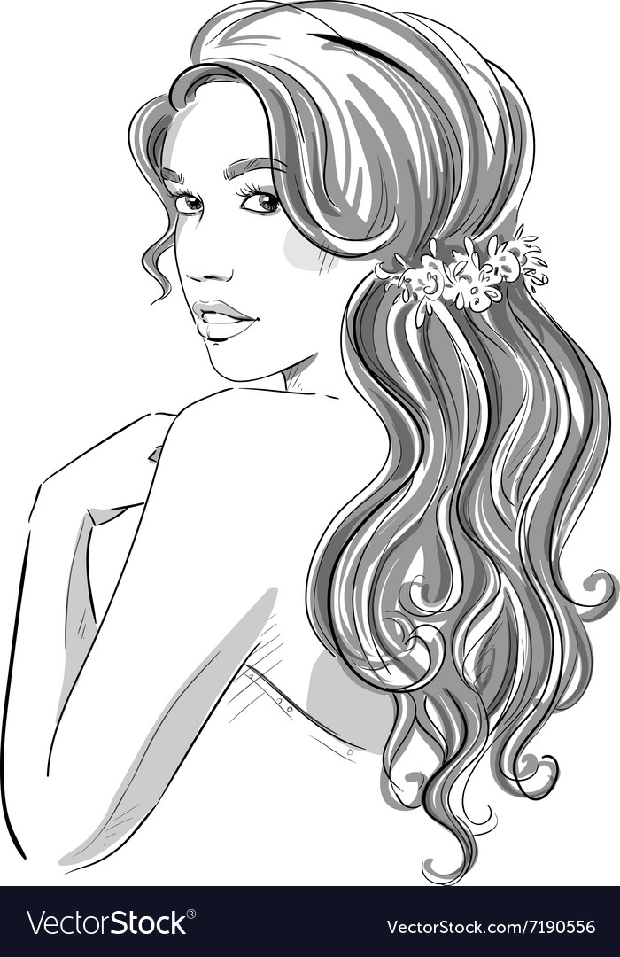 Sketch of a beautiful girl with bridal hairstyle vector image