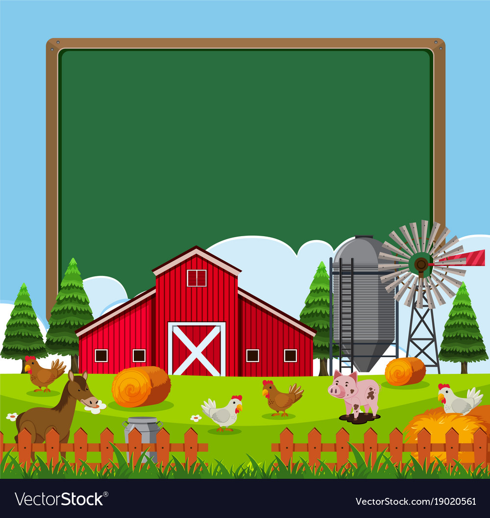 Border Template With Many Farm Animals Royalty Free Vector