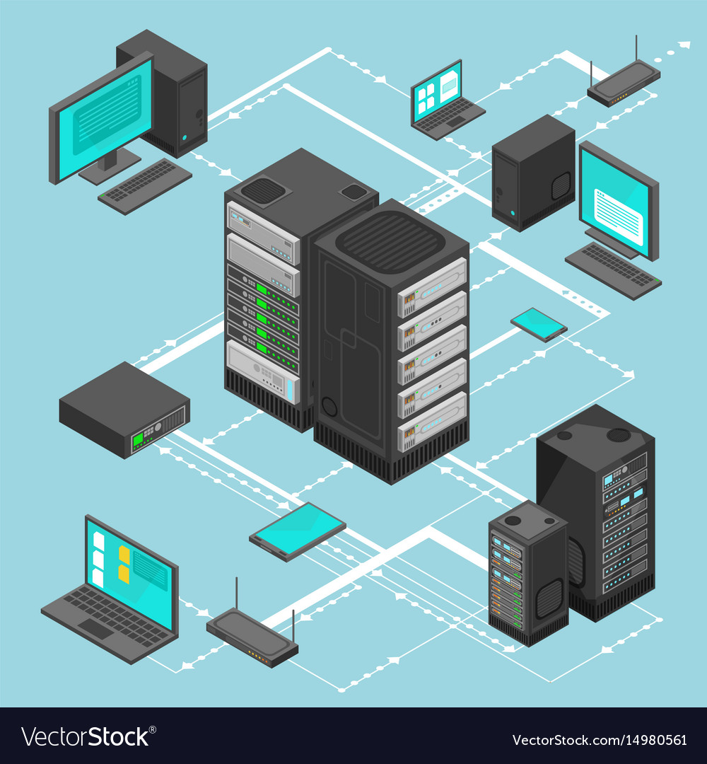 Data network management isometric map with