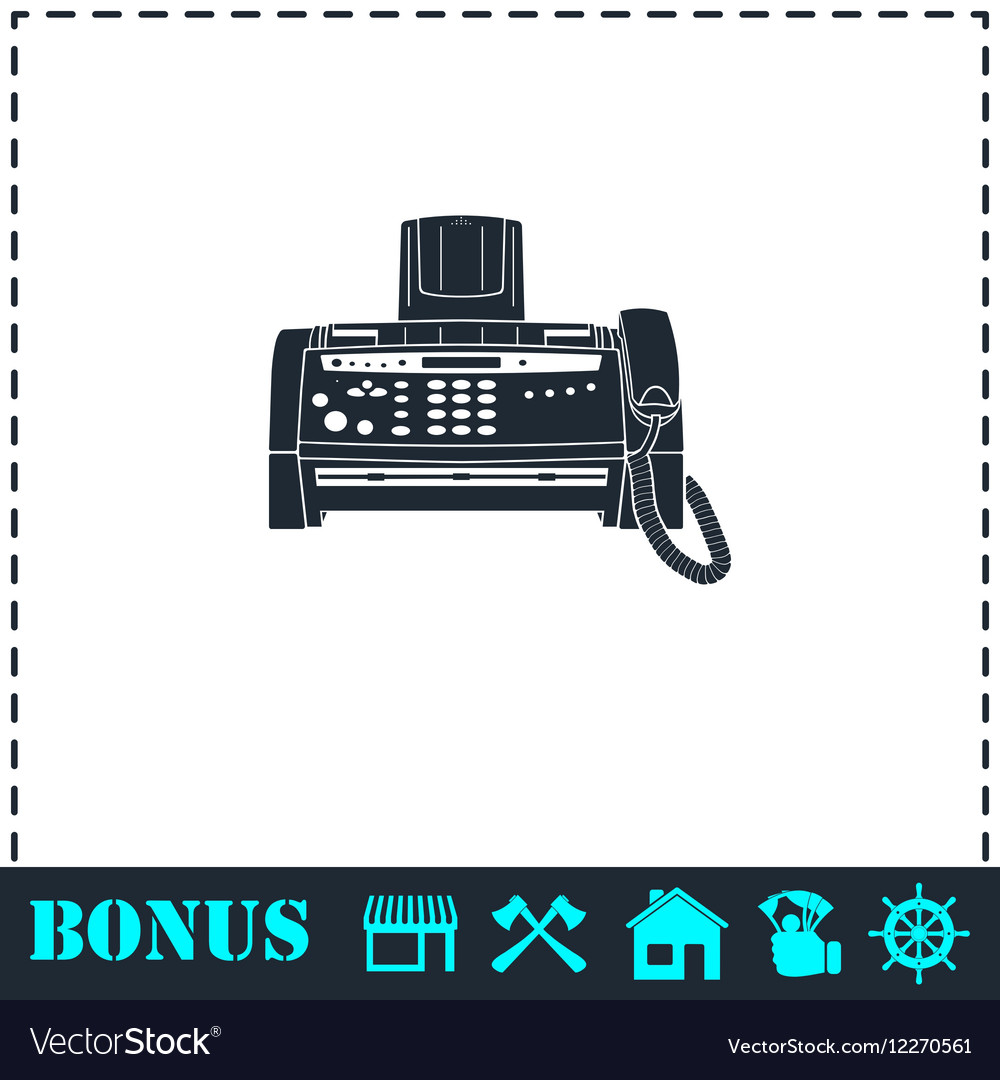 Fax machine icon flat