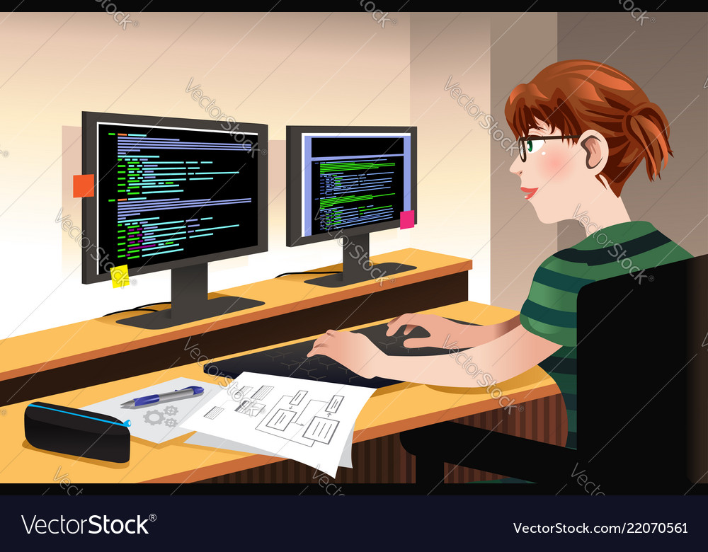 Female programmer coding on a computer