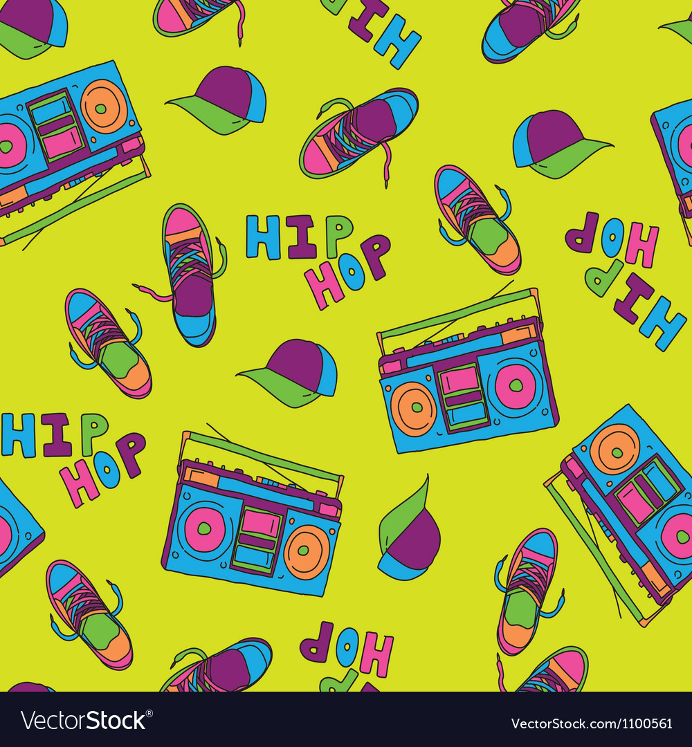 Hip hop music seamless pattern vector image