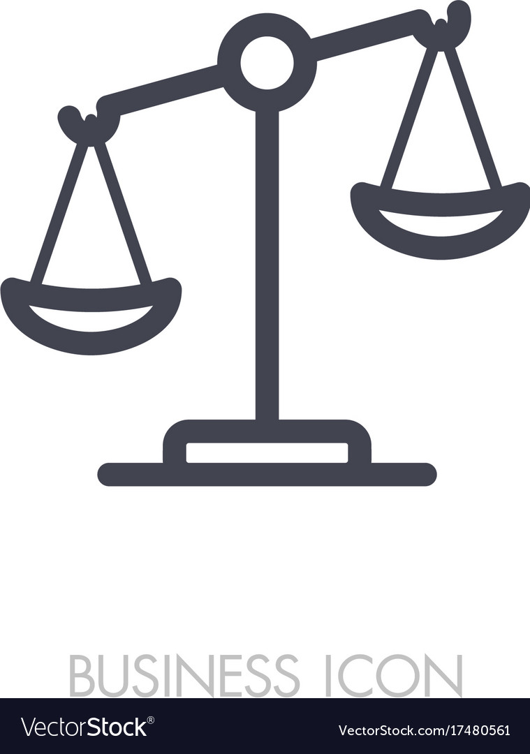 law scale icon justice outline icon royalty free vector rh vectorstock com vector scale bar vector scale aircraft models