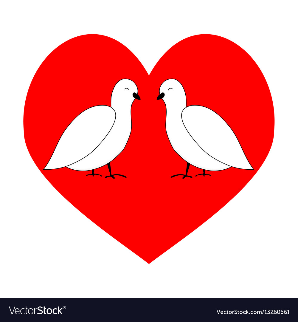 Love couple dove in red heart Royalty Free Vector Image