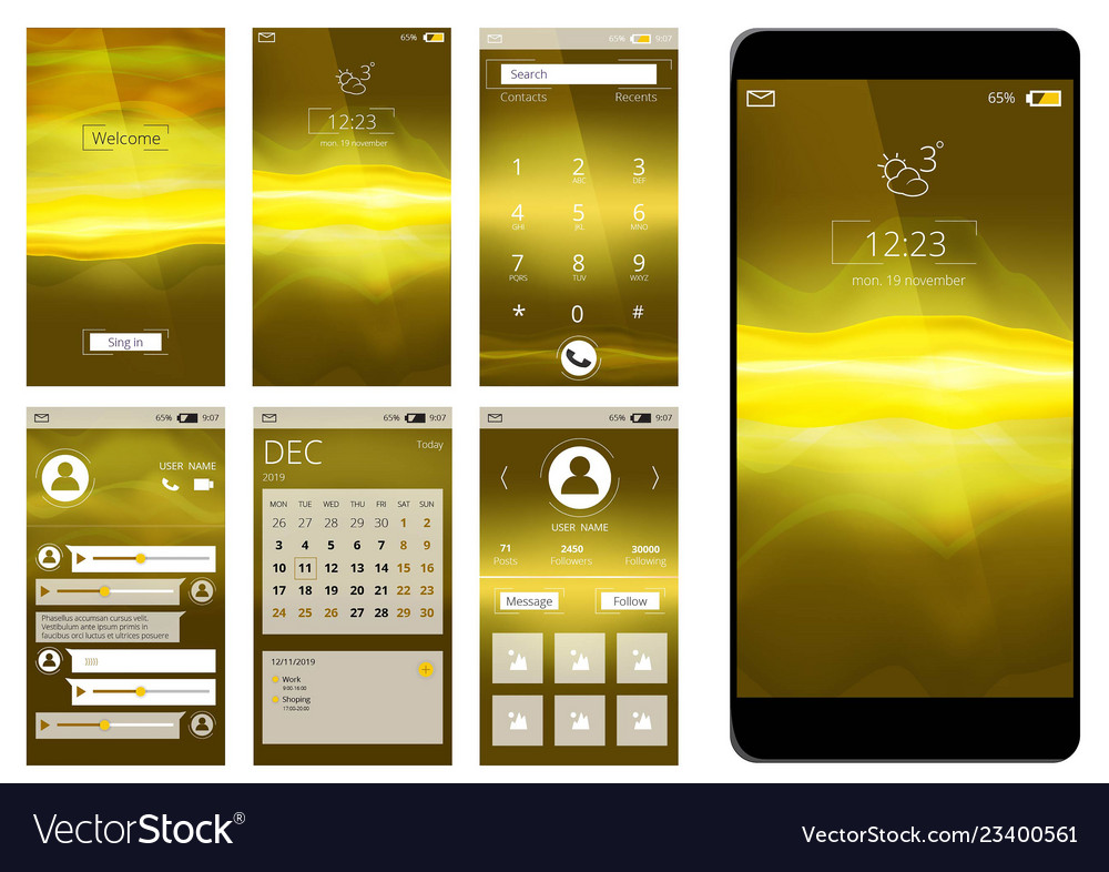 Mobile app ui web interface template for