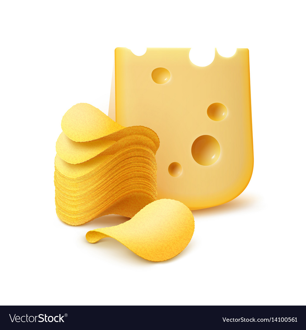 Potato crispy chips stack with cheese isolated vector image