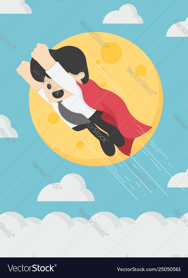 Super businessman is flying in sky background the