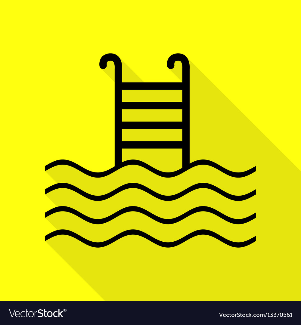 Swimming pool sign black icon with flat style