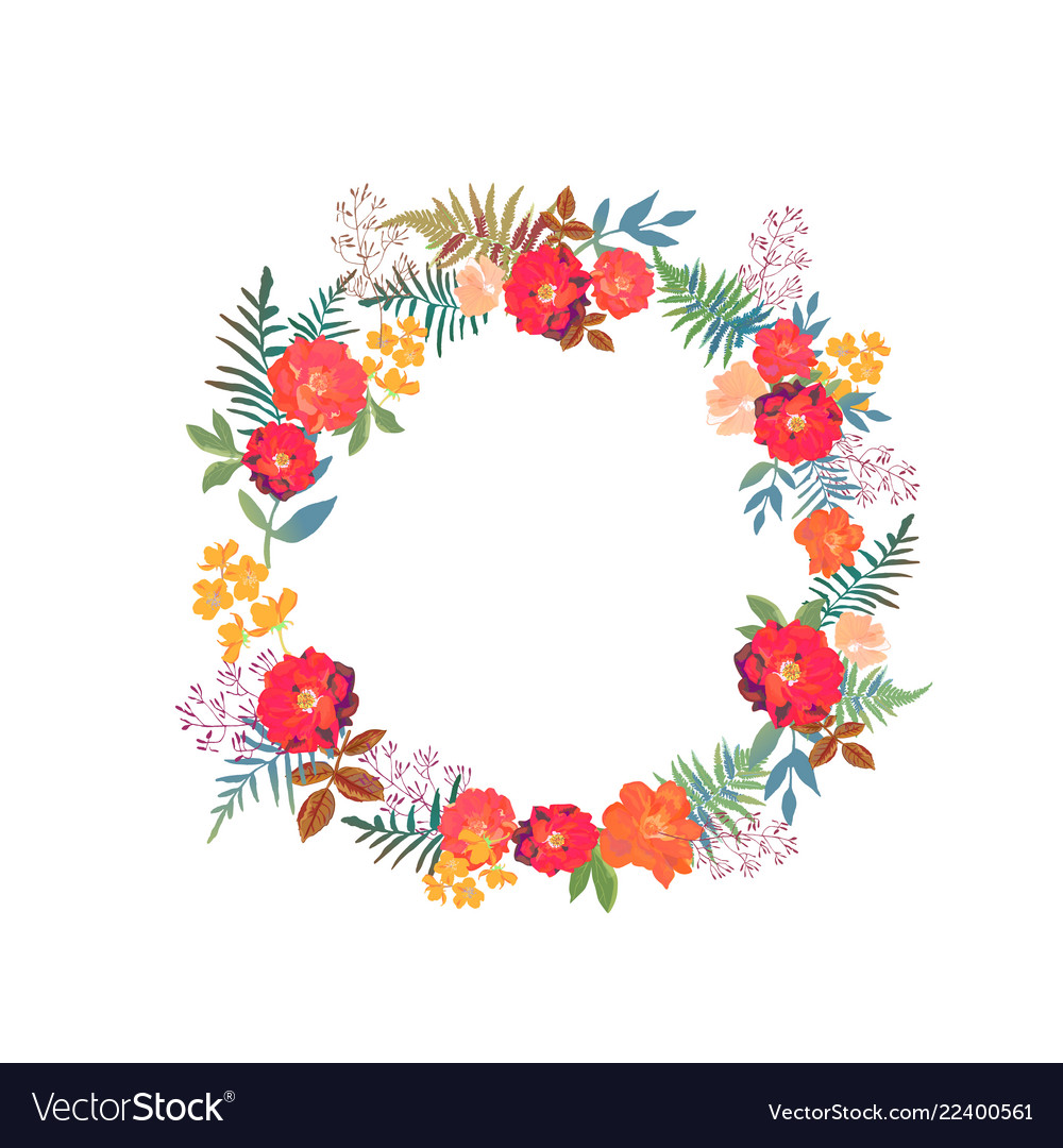 Wreath with flowers and leaves in circle colorful