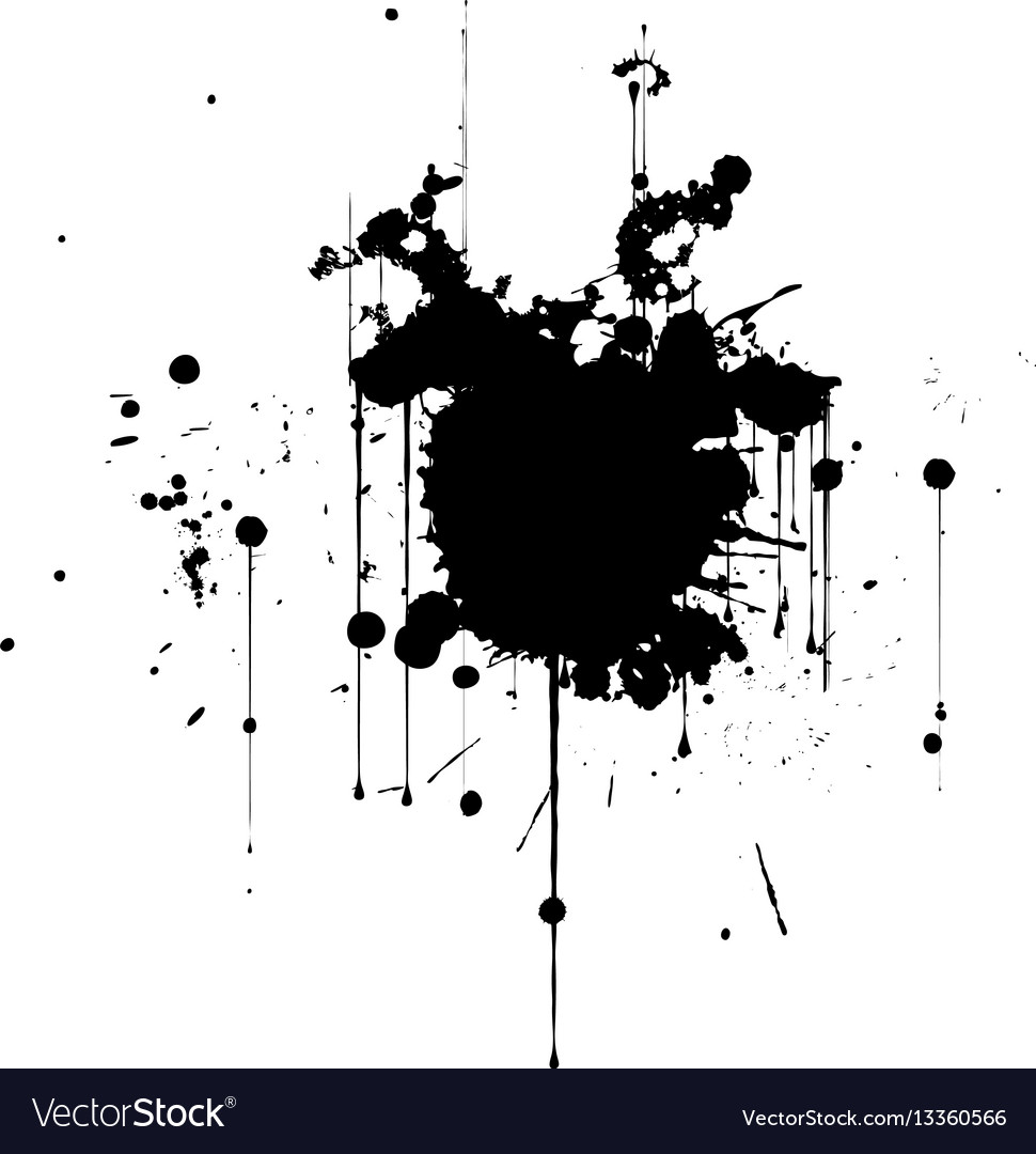Black ink splatter background isolated on white