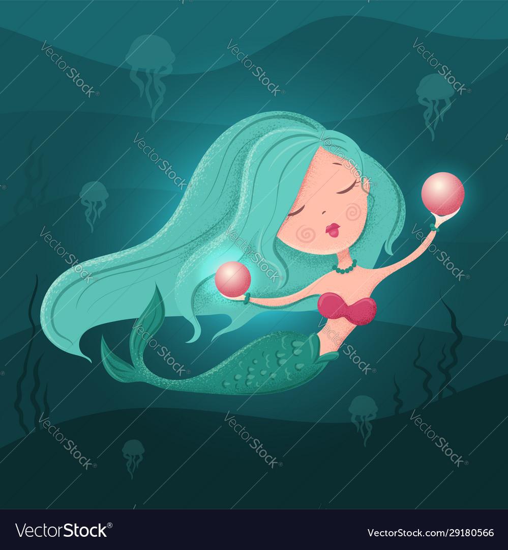 Cute cartoon mermaid with a pearl in a flat style