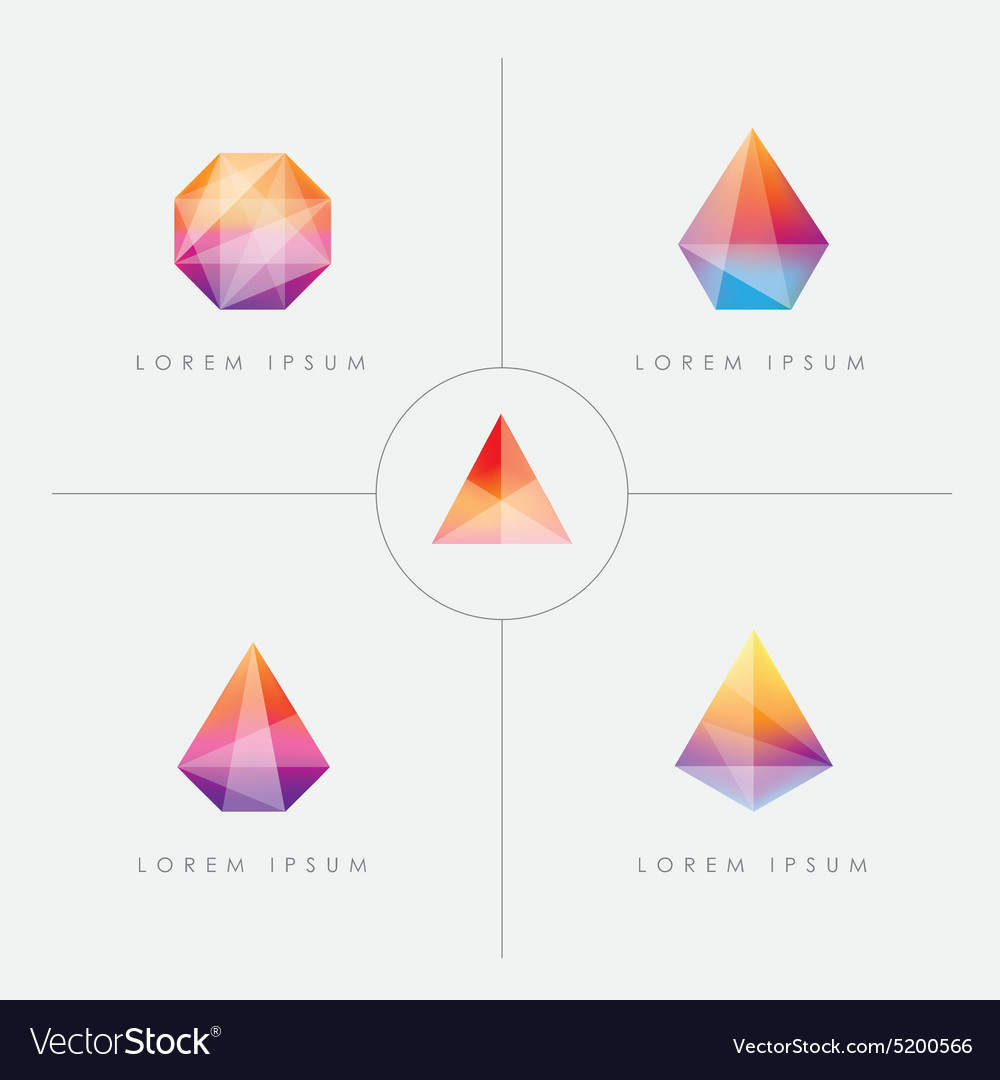 Diamond Prism Logo Icon Shapes Vector Image