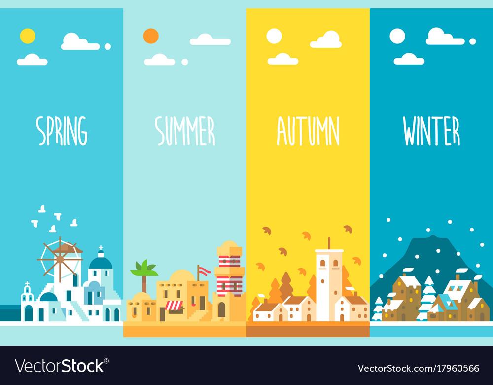 Flat design 4 seasons backgrou...