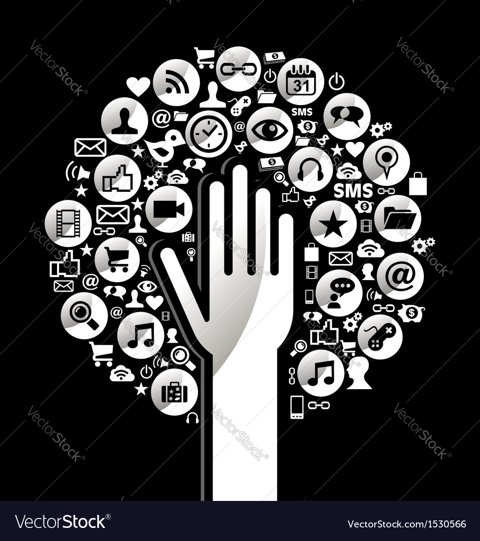 Global social media hand tree vector image
