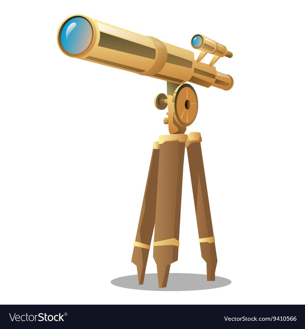 Golden optical telescope on a tripod vector image