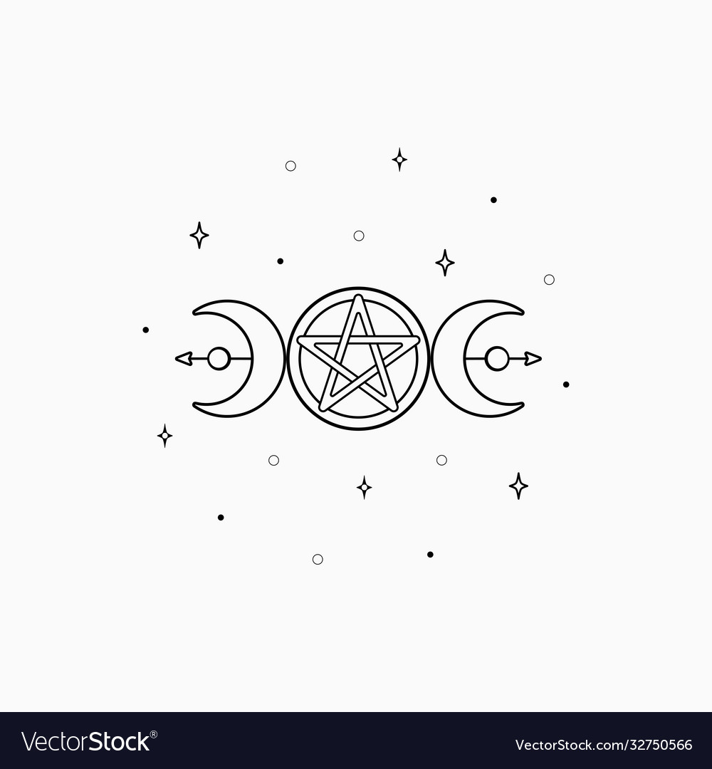 Mystic boho logo design elements with moon stars
