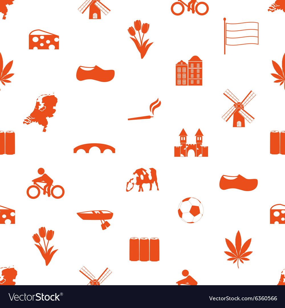 Netherlands country theme icons set seamless