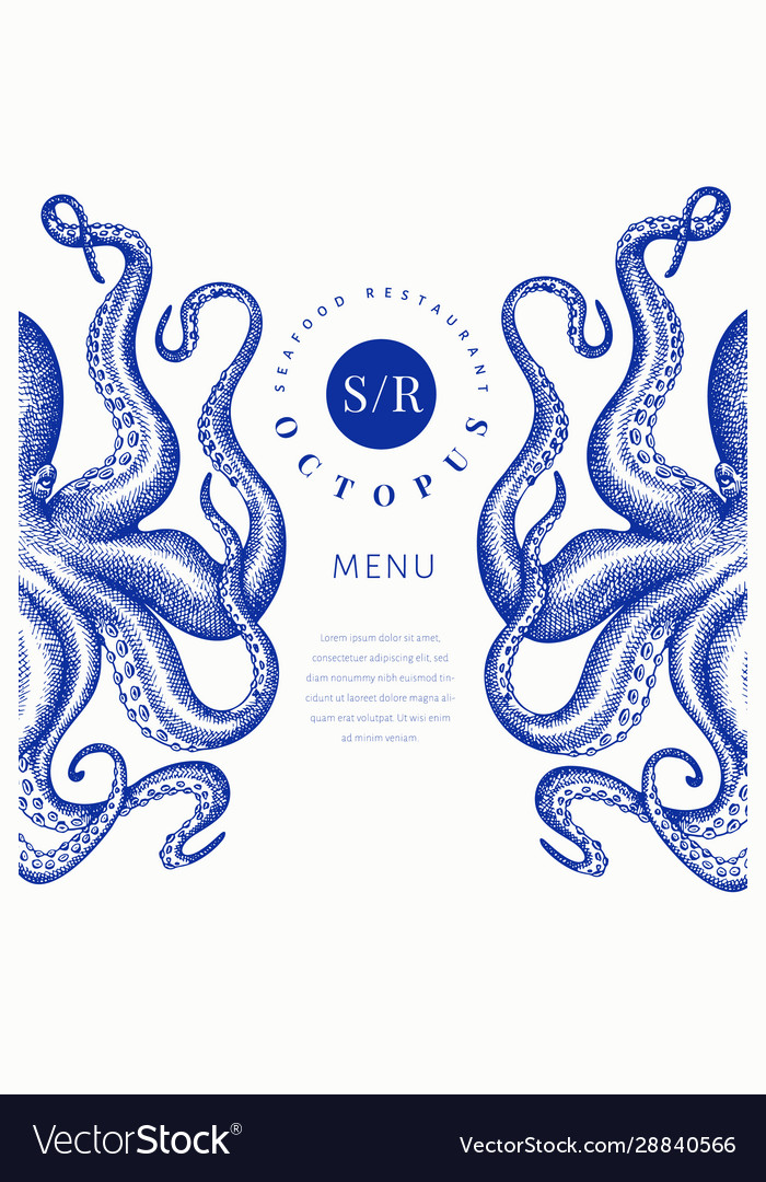 Octopus colored banner template hand drawn