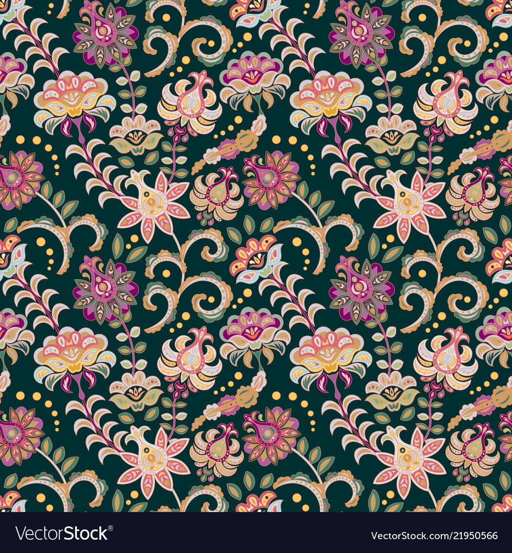 Seamless floral background pink flowers and leafs