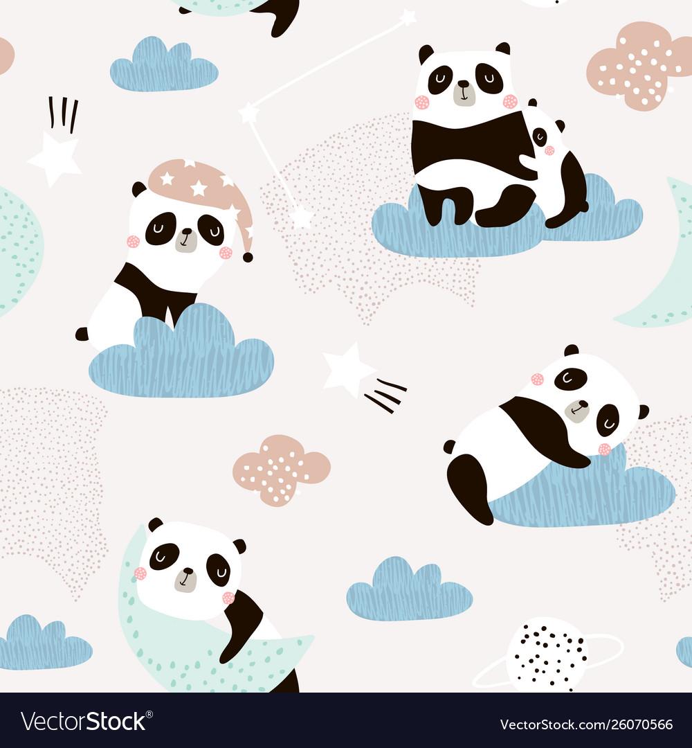Seamless pattern with cute sleeping pandas moon