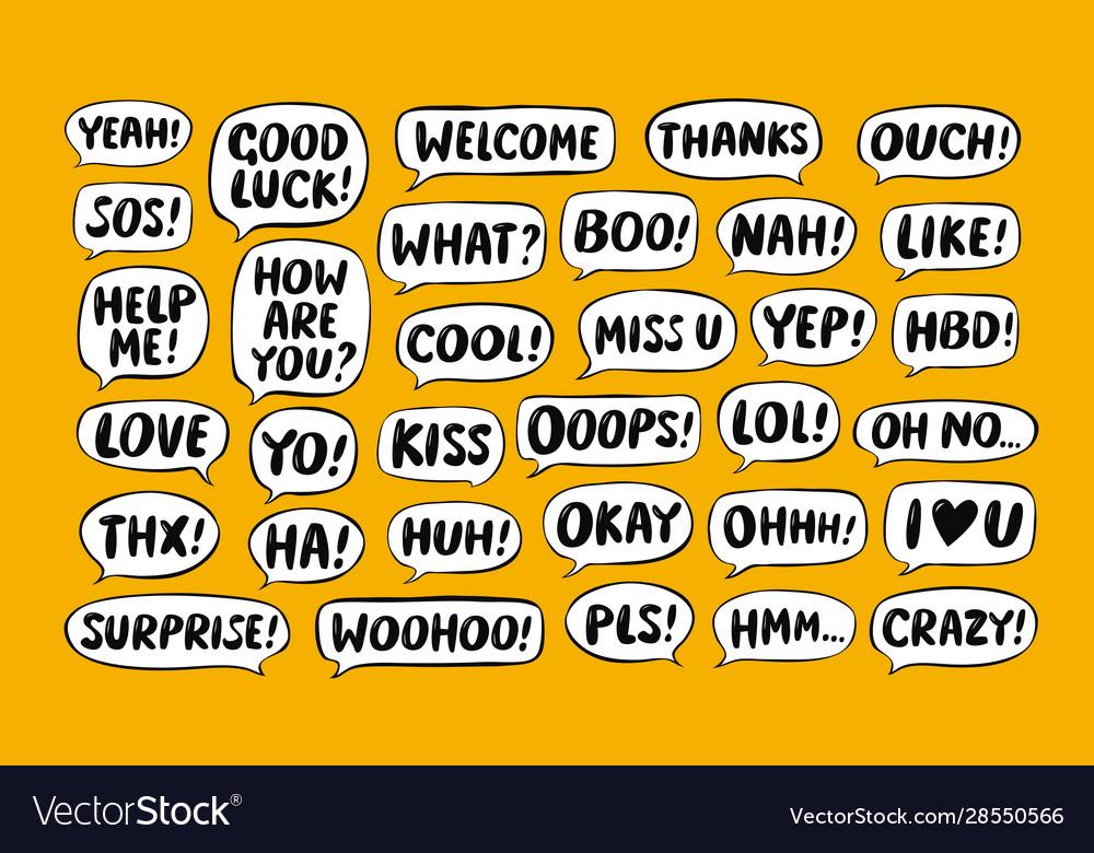 Set comic speech bubbles chat communication