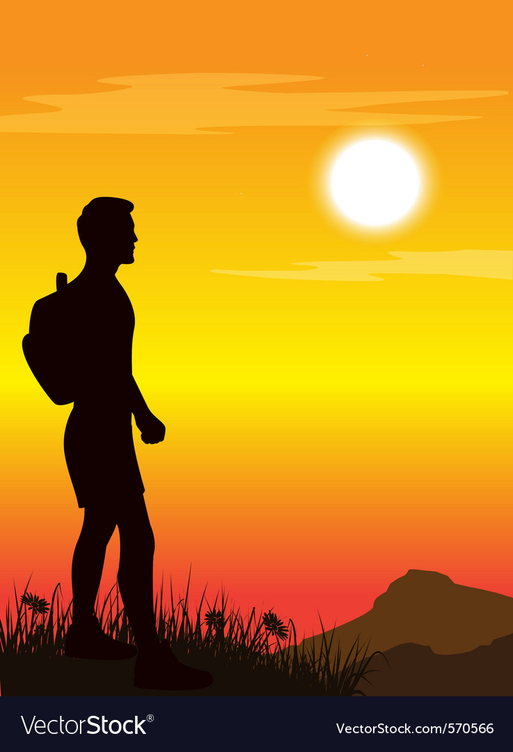 Tramper walking vector image