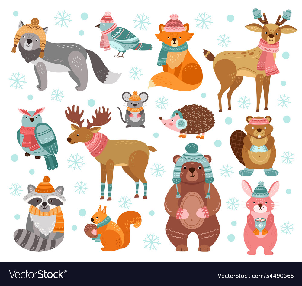 Winter animal characters style holiday animals