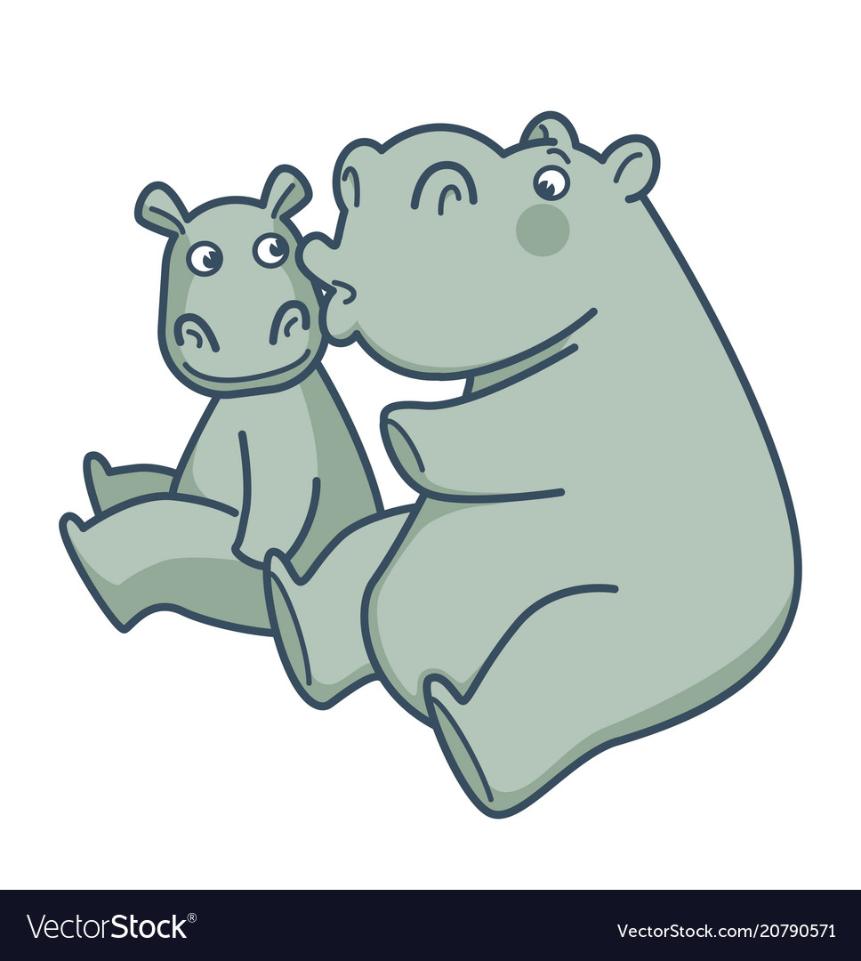 Big mommy hippo kisses her baby in cheek