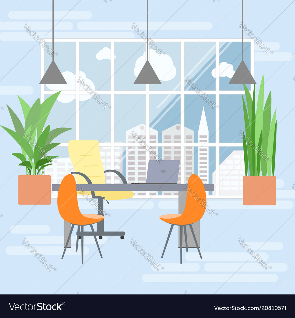 Boss office interior in flat design view from the