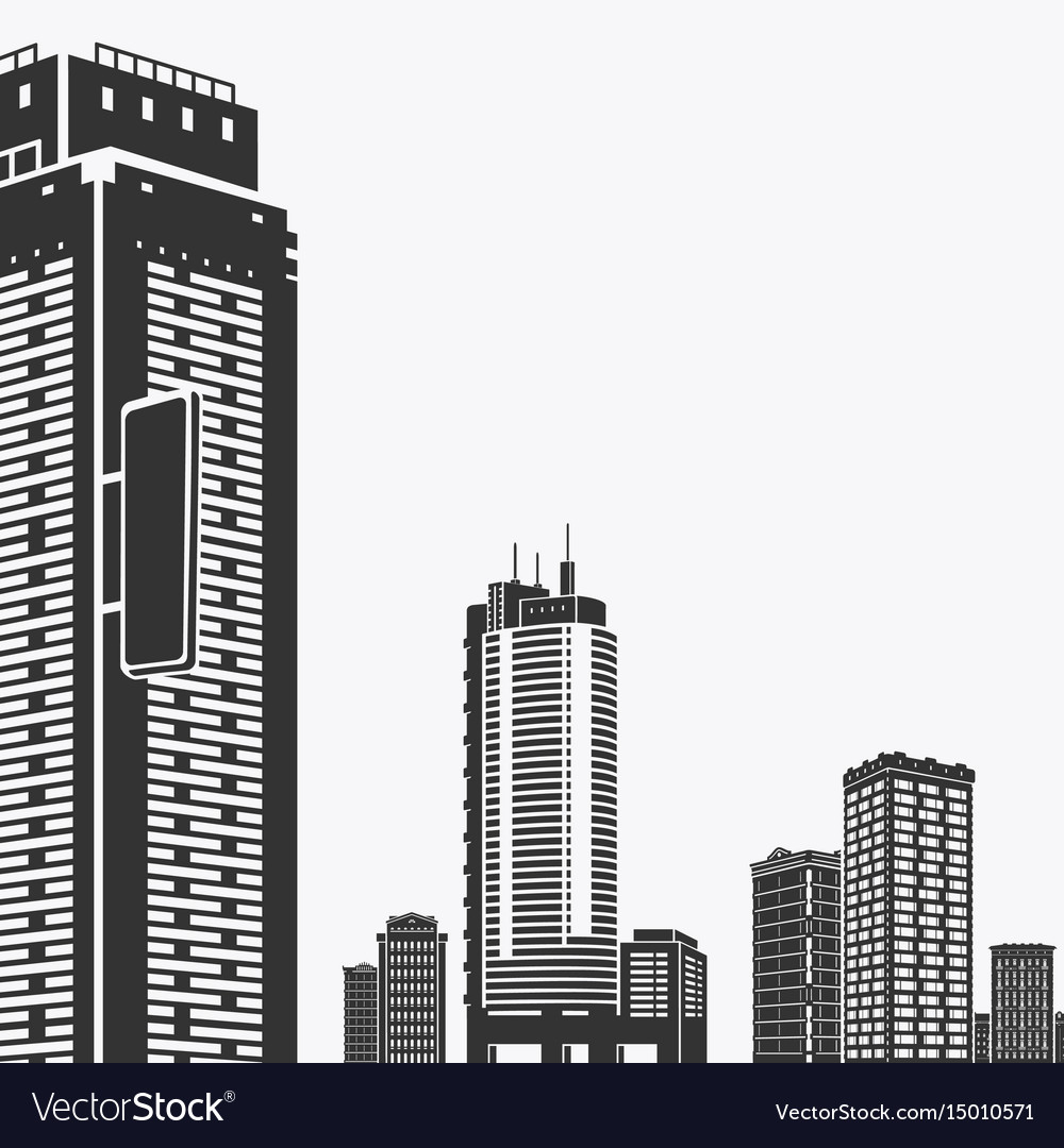 Building and skyscrapers silhouette