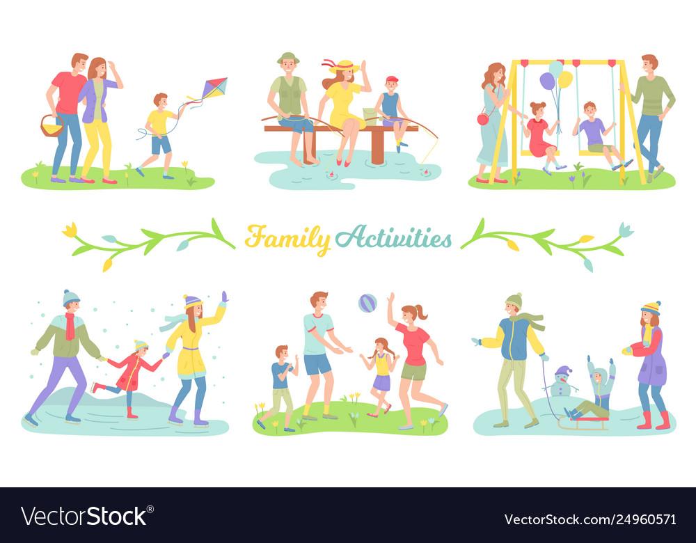 Family activities happy parents and children set Vector Image