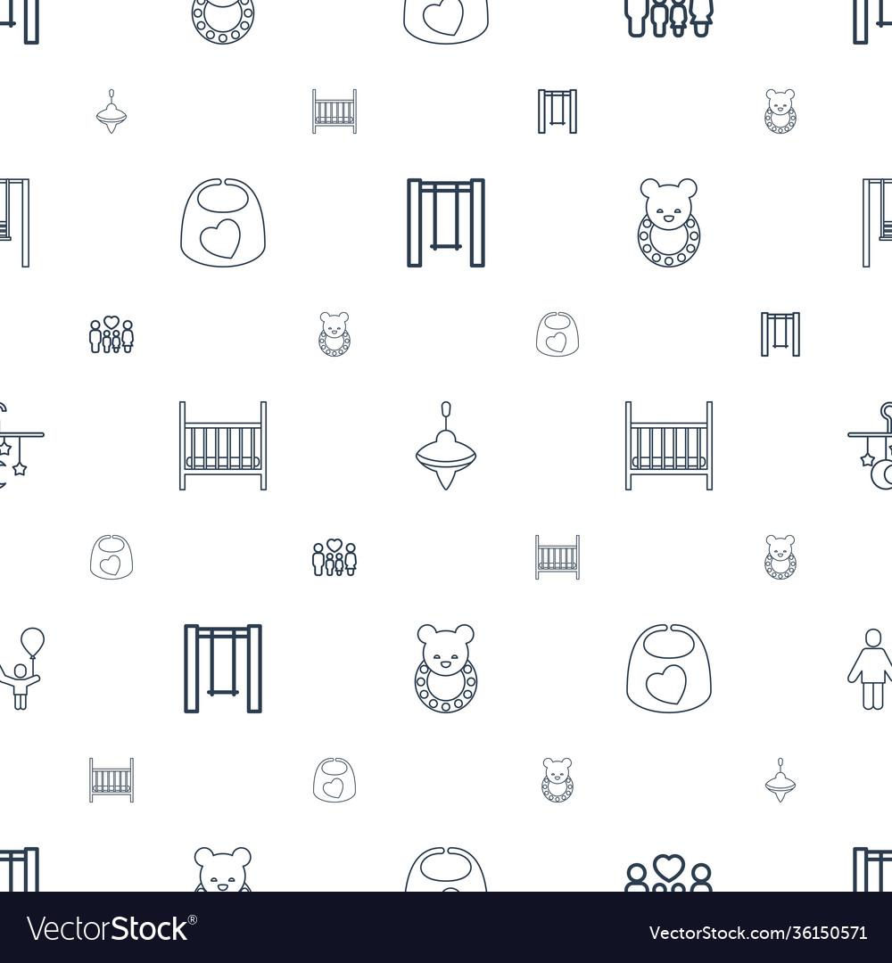Kid icons pattern seamless white background