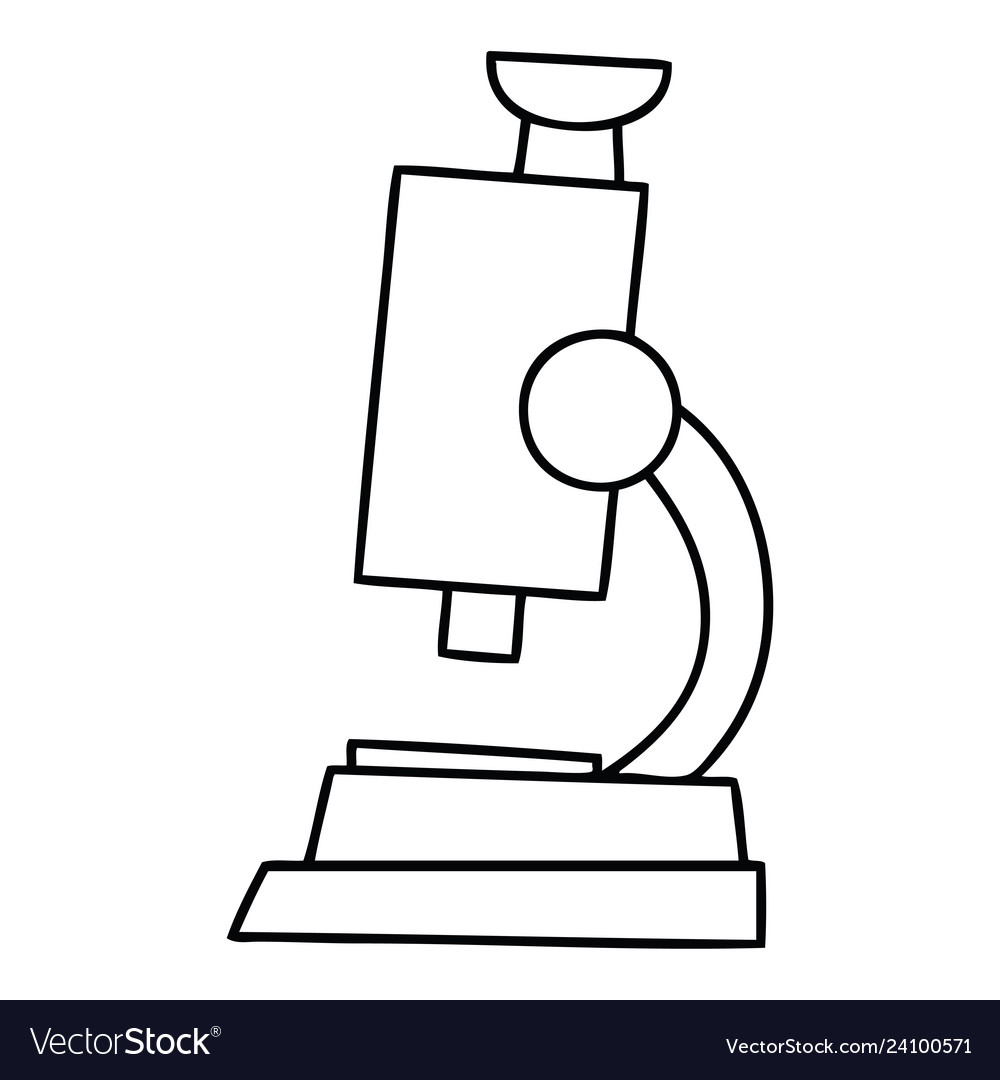 line drawing cartoon science microscope royalty free vector vectorstock